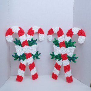 2 Candy Cane Melted Plastic Popcorn Decorations